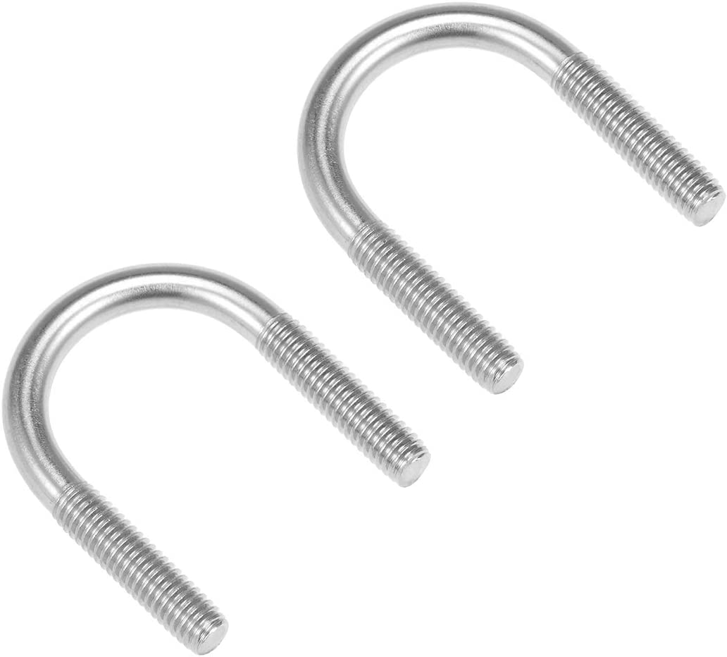 sourcing map M6 304 Stainless Steel U-Bolt Fastener for 51mm Pipe Diameter 4pcs