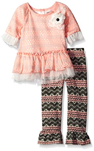 Little Lass Baby Girls' 2 Piece Legging Set Lurex Sweater, Light Coral, 18 Months
