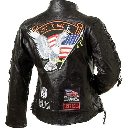 (Diamond Plate Ladies' Rock Design Genuine Buffalo Leather Motorcycle Jacket (Small))