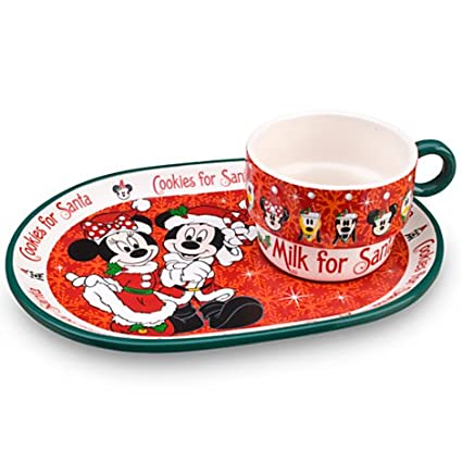 Amazon.com | Disney Minnie and Mickey Mouse Cookies for Santa Plate ...