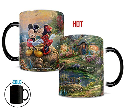 Morphing Mugs Thomas Kinkade Disney's Mickey and Minnie Sweetheart Cove Painting Heat Reveal Ceramic Coffee Mug - 11 Ounces]()