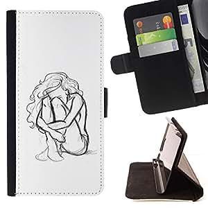 Momo Phone Case / Flip Funda de Cuero Case Cover - Mujer Chica Depresión Heartbreak Sad - HTC One Mini 2 M8 MINI