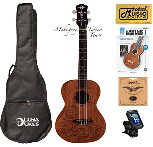 Luna Mahogany Series Tattoo Tenor Ukulele w/ Gigbag,Tuner,Strings,Book & PC by Luna Guitars
