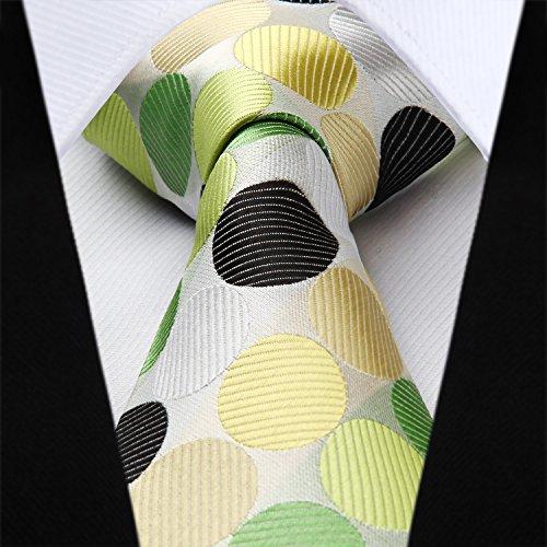 Dot Pocket Set Tie Floral Men's Handkerchief Square HISDERN Olive Green Necktie amp; Wedding 6SqdwC6xgH