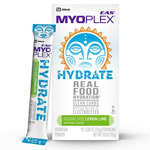 EAS Myoplex Hydrate Real Food Hydration Powder for Endurance Athletes, Ocean Side Lemon Lime, 10 ()
