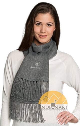 (Alpaca Camargo Scarf - Grey by Andean Sun - Super Soft, Lightweight, Warm, for Everyday Wear - Assorted Natural and Vibrant Colors)
