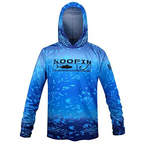 Performance Fishing Hoodie UPF 50 Dri Fit Sunblock Shirt Long Sleeve Quick-Dry Fade Pattern - Long Shirt Hooded