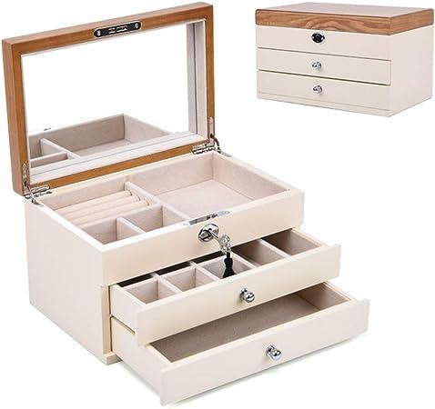 Joyería Caja para Mujer,Madera Organizador Caja Casa Woody Joyería Joyería Caja para Joyería-Trompeta Blanca 10x6x5inch: Amazon.es: Hogar