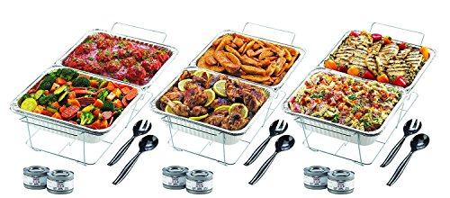 32-PC Chafer Warming Set Holds 8 Dishes: Wire Stands - Aluminum Pans - Sternos - Serving Utensils