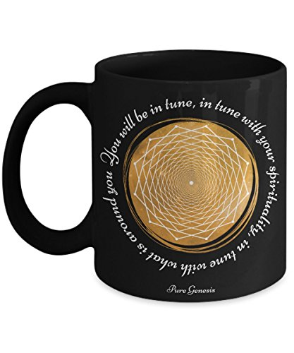 You will be in tune with your spirituality - enlightening spiritual meditation yoga gift mug by Pure Genesis black coffee cup