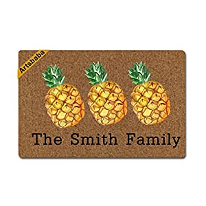 "Artsbaba Personalized Your Text Doormat Pineapple Doormats Monogram Non-Slip Doormat Non-woven Fabric Floor Mat Indoor Entrance Rug Decor Mat 23.6"" x 15.7"""