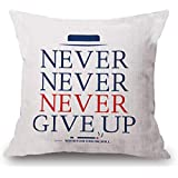 ZHONGH Never Give Up Printed Kids Throw Pillows Cover Quote Soft Cotton Linen Pillowcase for Sofa Home Living Room Decor Cushion Case Sham One Side Print 18 Inches 1 Piece