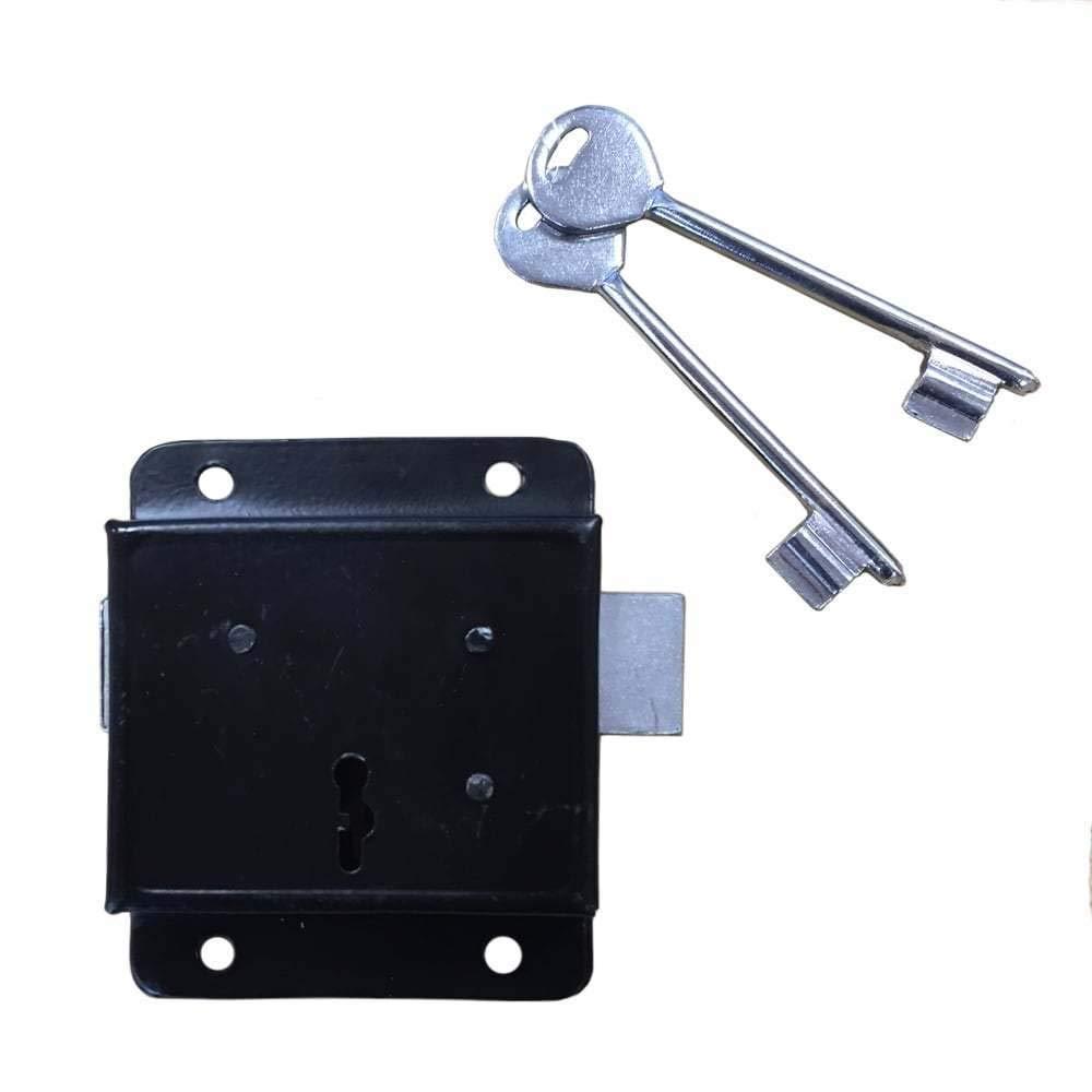Black Rim Press Lock with 2 Keys Perry