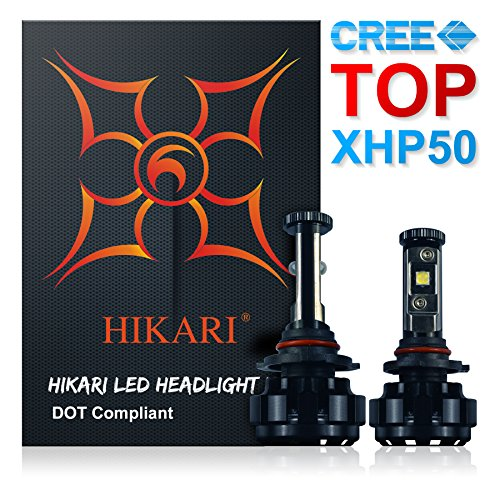 HIKARI LED Headlight Bulbs Conversion Kit -9012/HIR2,Top CREE XHP50 9600lm 6K Cool White,3 Yr Warranty