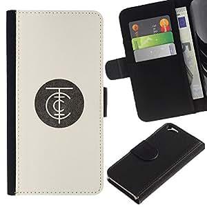KLONGSHOP / Tirón de la caja Cartera de cuero con ranuras para tarjetas - Logo Beige Retro - Apple iPhone 6 4.7