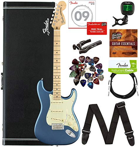 Fender American Performer Stratocaster, Maple - Lake Placid Blue Bundle with Hard Case, Gig Bag, Cable, Tuner, Strap, Strings, Picks, Capo, and Austin Bazaar Instructional DVD