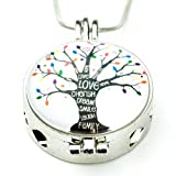 Soul Statement Essential Oil Necklace Tree of Life Charm Pendent Anti Anxiety Jewelry (Tree of Life)