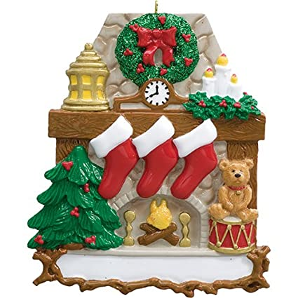Personalized Fireplace Stockings Family of 3 Christmas Ornament for Tree  2018 - Wooden Mantle Stone Chimney - Amazon.com: Personalized Fireplace Stockings Family Of 3 Christmas