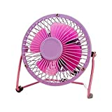 Eastlion 11 Colors Portable 4-inch Quiet Cool Metal Mini USB Fan,Purple-red
