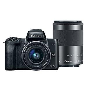 Canon EOS M50 Mirrorless 4K Vlogging Camera Bundle Kit with EF-M15-45mm + EF-M 55-200mm Lenses, Black