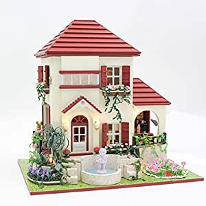 BEAUTY'S CASTLE DIY Flower Love Wooden Dollhouses With LED Light And Wooden Frame For Creative Birthday Gift