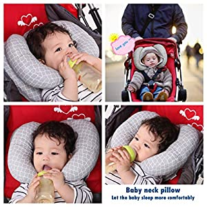 Adjustable Baby Travel Neck Pillow for Car Seat,Infant 2 in 1 Toddler Soft Head Neck Support Organic Anti Flat Head…