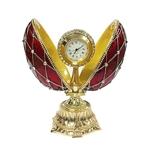 (Faberge Replica Red Russian Style Egg Box with the Clock Decorated with Mesh Pattern and Swarovski Crystals, 4.5