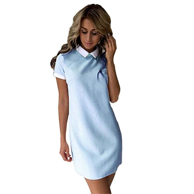 Minetom Verano Vestido Polo-Dress Manga Cortos para Mujer Playa Fiesta De Graduación Azul ES