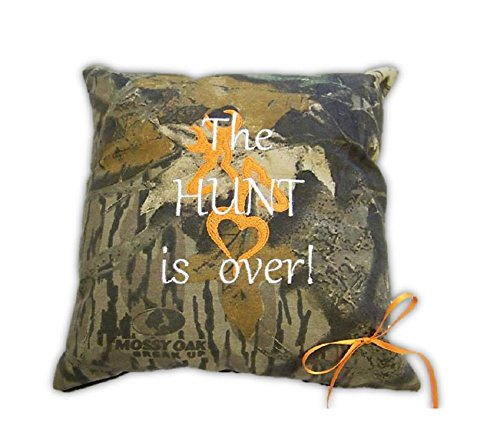 Mossy Oak Pillow Hunt is Over Embroidered for Wedding or Fun - Embroidered Ring Pillow