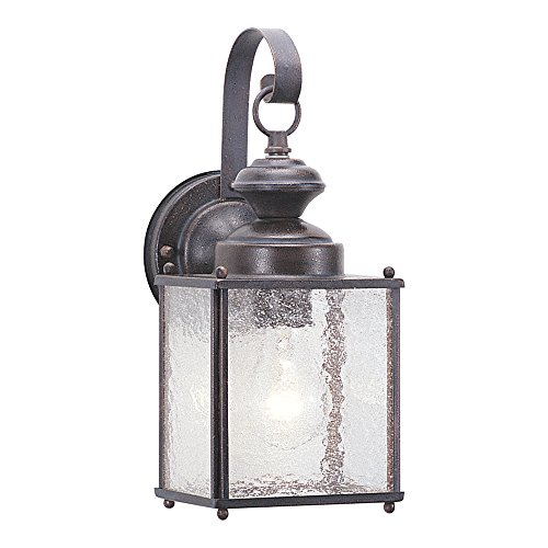 Sea Gull Lighting 8881-08 Jamestowne One-Light Outdoor Wall Lantern with Clear Seeded Glass Panels, Textured Rust Patina Finish (Bulb 1 Finish Rust)