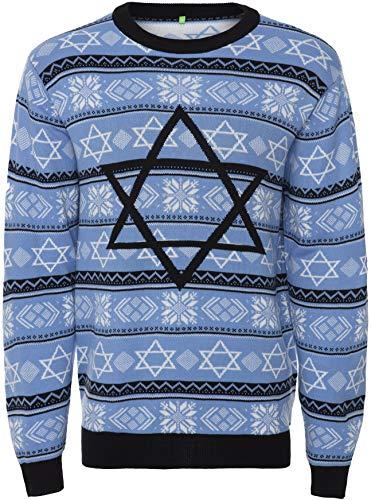 Men's Sweater Ugly Holiday Jewish Christmas, Night Before Hanukkah Star of David - Large (Star Of Christmas Sweater David)