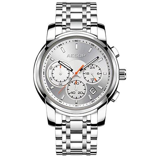 03edb0d446 AESOP ファッションウォッチ メンズ クォーツ腕時計 ステンレススチールストラップ メンズ時計 防水 (シルバー)