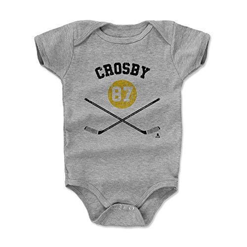 500 LEVEL Sidney Crosby Pittsburgh Penguins Baby Clothes, Onesie, Creeper, Bodysuit (3-6 Months, Heather Gray) - Sidney Crosby Sticks Y