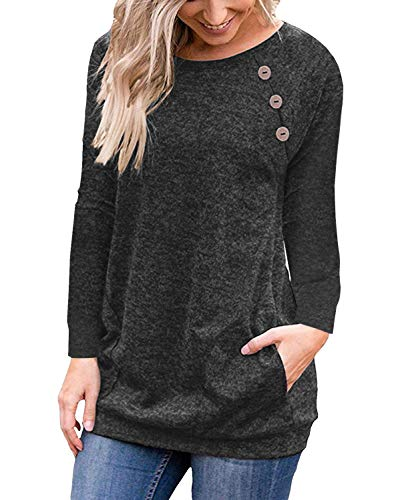 PinUp Angel Black Women's Casual Long Sleeve Button T-Shirt Tunic Top Solid Blouse ()