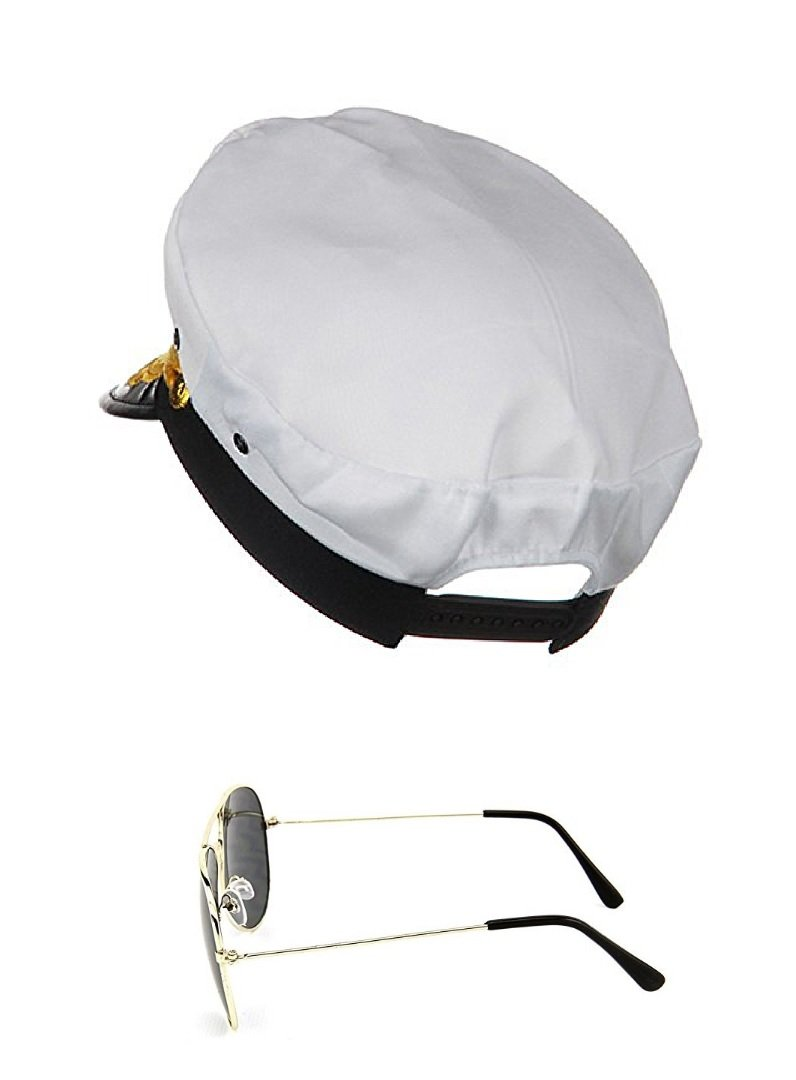 Yacht Boat Captain Hat Sailor Ship Cap White Gold and Gold Aviator Sunglasses by Nicky Bigs Novelties (Image #3)