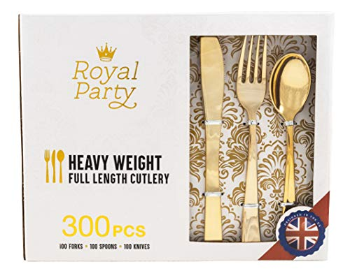 300 Pieces Premium Gold Plastic Silverware from Royal Party   Disposable Heavyweight Plastic Cutlery   Full Length Flatware Set - Includes 100 Forks, 100 Spoons, 100 Knives.