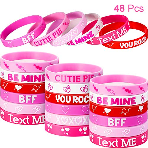 Jovitec 48 Pieces Valentine's Day Heart Rubber Wristband Bracelets for Party Favors School Gifts Supplies