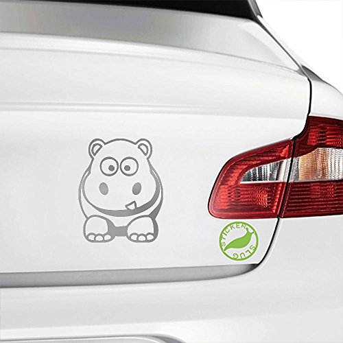 Silver Hippo - Cartoon Hippo Decal Sticker (metallic silver, 5 inch)