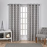 Exclusive Home Cressy Geometric Textured Linen Jacquard Window Curtain Panel Pair with Grommet Top, 54×84, Ash Grey, 2 Piece For Sale