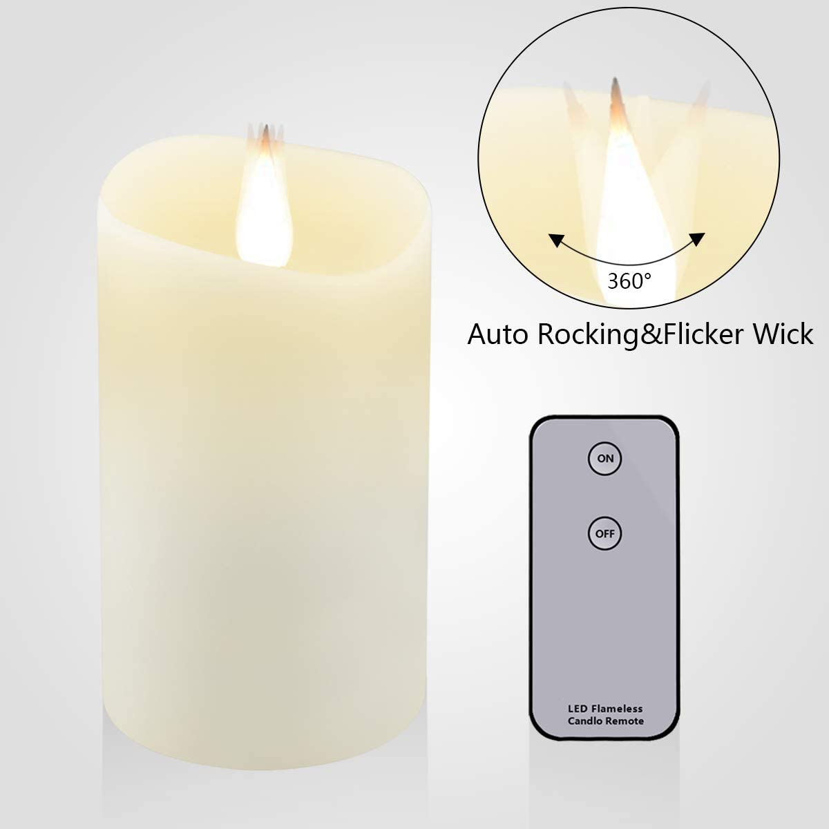LFS 3D Flameless Candles , Real Wax Surface Flickering Flameless Candles with Moving Flame , Remote Timer for Christmas Lamp Home Decor , Over 800 Hours Work 5 x3 , Ivory White for Xmas Ivory