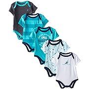 Nautica Baby-Boys Newborn 5 Pack Sailor Bodysuit, Assorted, 0-3 Months
