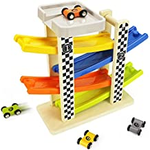 Wooden Big Ramp Race Car, Race Track Parking Garage Set, Learning & Activity Playset with Assorted 4 Small Wood Racers, Cars for 2, 3, 4, 5 Year Old and Up Boys, Girls, Kids, Toddlers - iPlay, iLearn