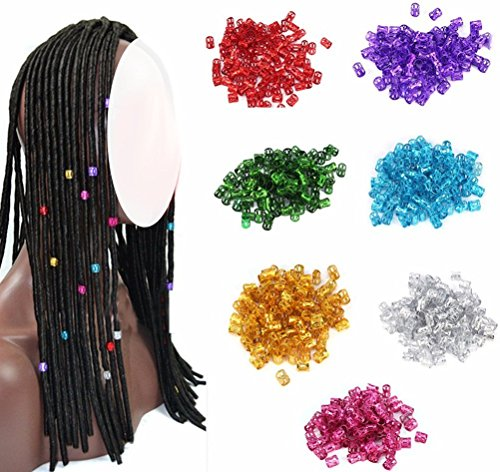 cuhair 100pcs/Bag Colorful Ponytail Holder Hair Clip Hair Braiding Beads Hair Tube Rings Hair Styling Tools Hair Accessories For Women Girl Boy Men]()