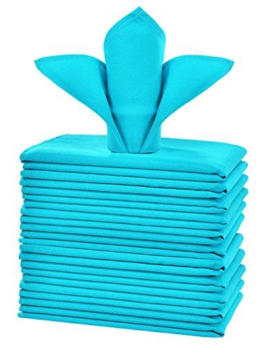 cieltown Polyester Cloth Napkins 1-Dozen (17 x 17-Inch, Turquoise) (Napkin Turquoise)
