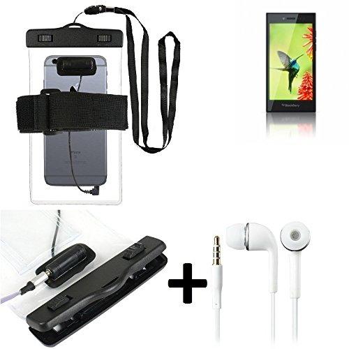 Estuche estanco al agua con entrada de auriculares para Blackberry Leap + auricular incluido, transparente | Trotar bolsa de playa al aire libre caja brazalete del teléfono caso de cáscara bajo playa