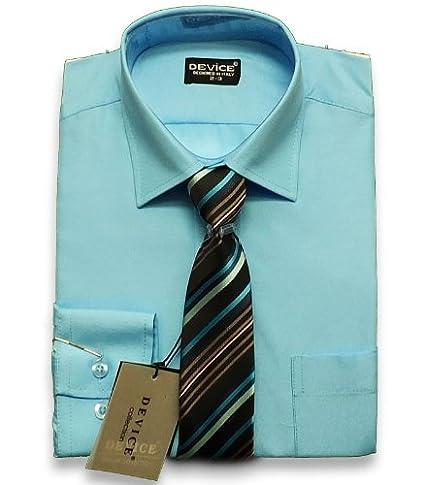 SIRRI PAJES Azul Aqua Camisa Formal Y Set Corbata Traje DE Boda ...