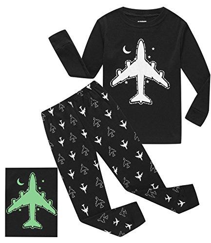 Boy Plane (IF Pajamas Glow-in-the-Dark Plane Little Boys Long Sleeve Pajamas Sets 100% Cotton Sleepwears Toddler Kids Pjs Size 3T)