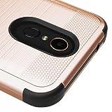 LG K20 Plus / K20 V / Harmony / Grace LTE / LG K10 (2017) Case, Kaleidio [Metallic TUFF] Rugged Armor 3-Piece [Shockproof] Hybrid Rubber Cover w/ Overbrawn Prying Tool [Rose Gold/Black]