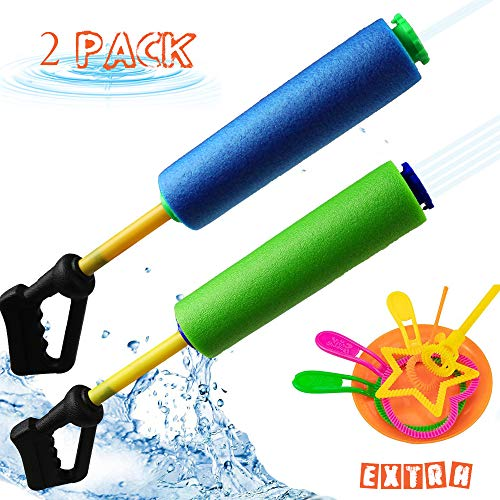 Klobroz Water Guns for Kids - 2 Pack 5 in 1 Nozzles Foam Water Blaster Soaker Gun Pool Games for Boys Girls Kids and Adults Outdoor Beach Yard and Park Water Fighting Game Extra Bubble Making Wand Inc ()
