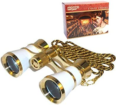 HQRP 3 x 25 Theater Opera Glasses Binoculars with Red Reading Light color Burgundy with Gold Trim w// Necklace Chain with Crystal Clear Optics CCO